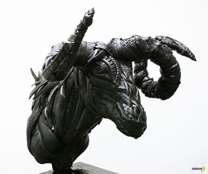 Скульптуры из покрышек