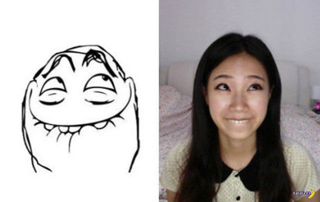 Девушка копирует рожи мемов