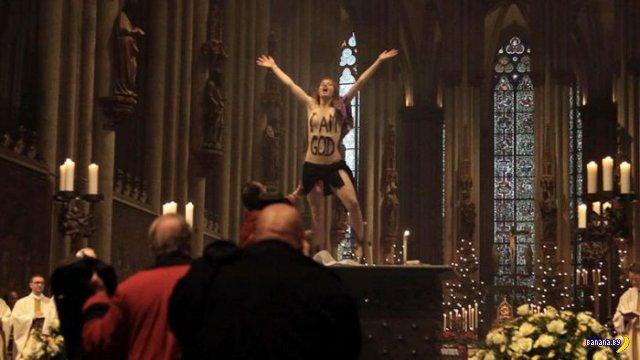 Активистка Femen разделась на алтаре Кельнского собора