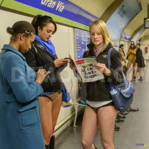 Девушки с No Pants Subway Ride 2014