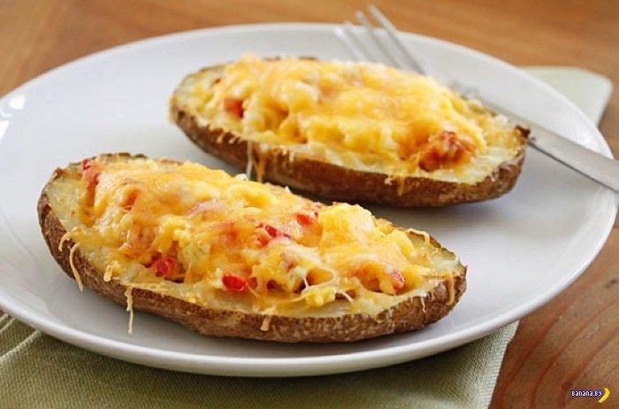 Пара рецептов блюд в половинках картофелины