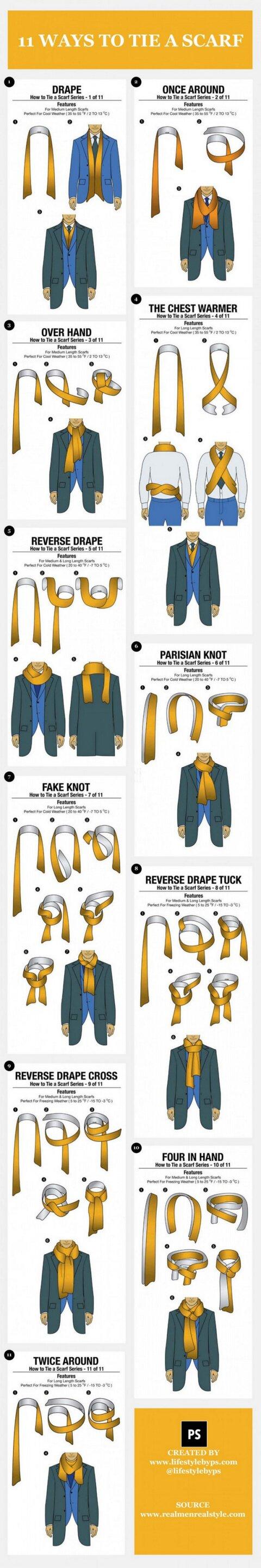 11 способов повязать шарф