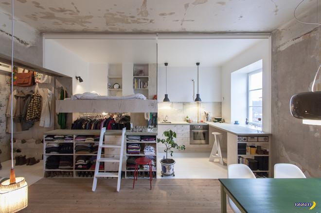 Склад переделали под квартиру в Стокгольме