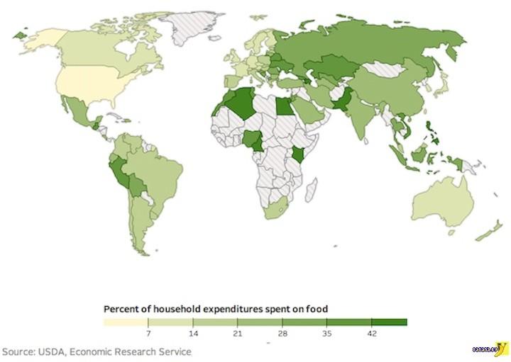 Сколько люди тратят на еду в разных странах?