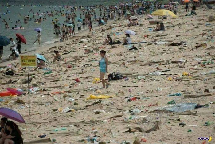 Китайские пляжи и отрицание мусора
