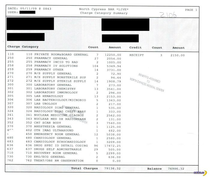Счет за медицинские услуги в США