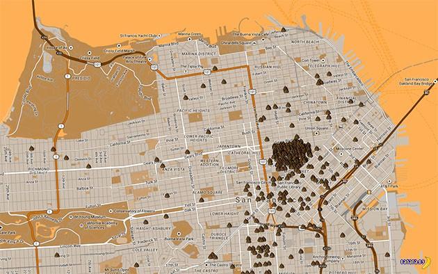Интерактивная карта говна в Сан Франциско