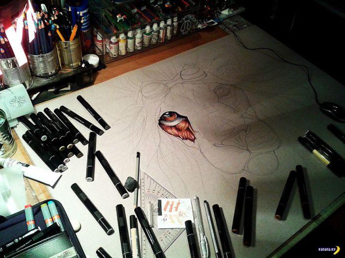 Процесс прорисовки стимпанк-льва!