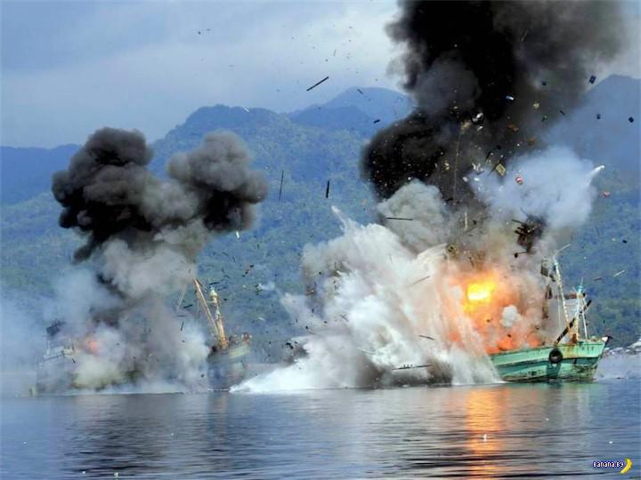 Как наказывают рыбаков в Индонезии
