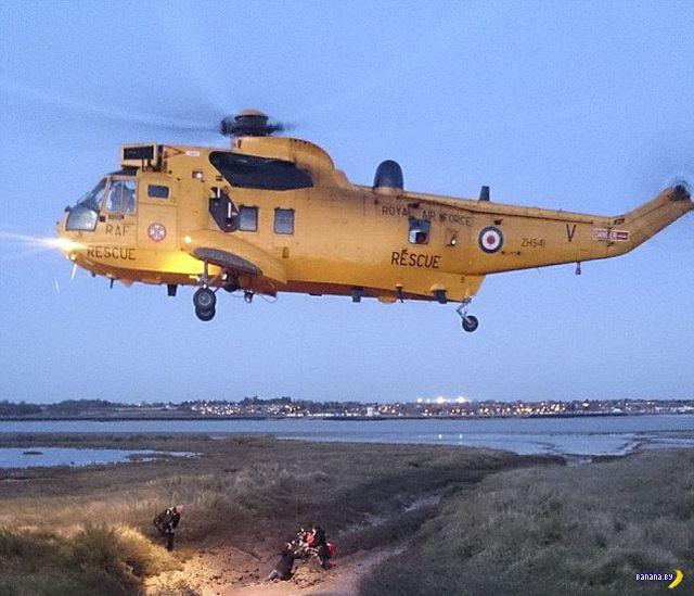 Спасение собаки при помощи вертолёта
