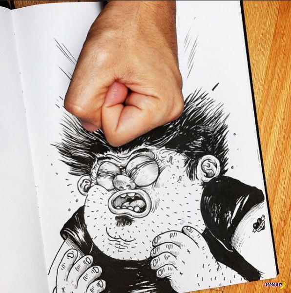 Художник мучает и избивает героев своих рисунков