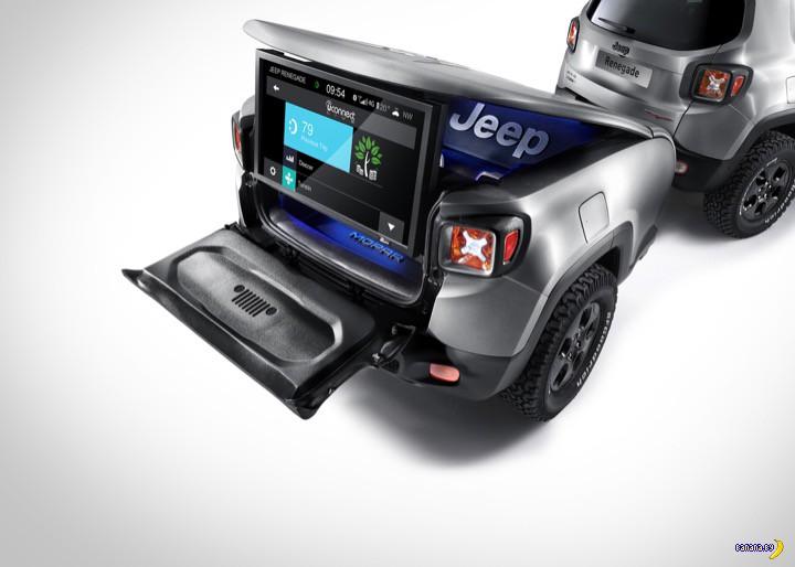 Jeep с прицепом едет в Женеву