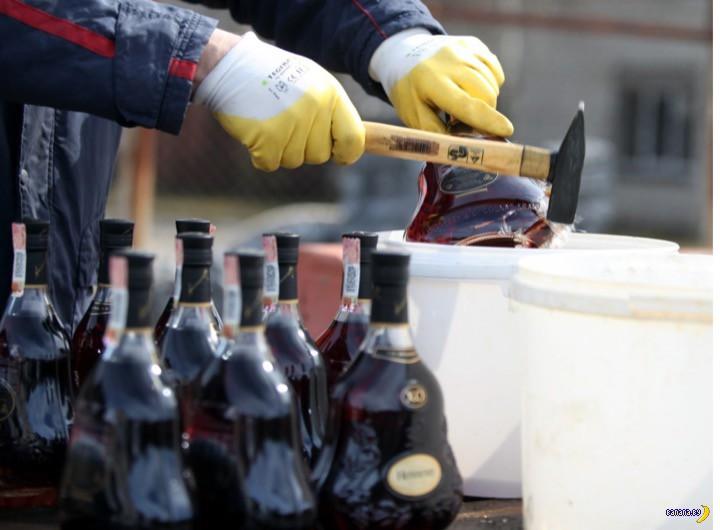 Разбили 10 тысяч бутылок элитного алкоголя