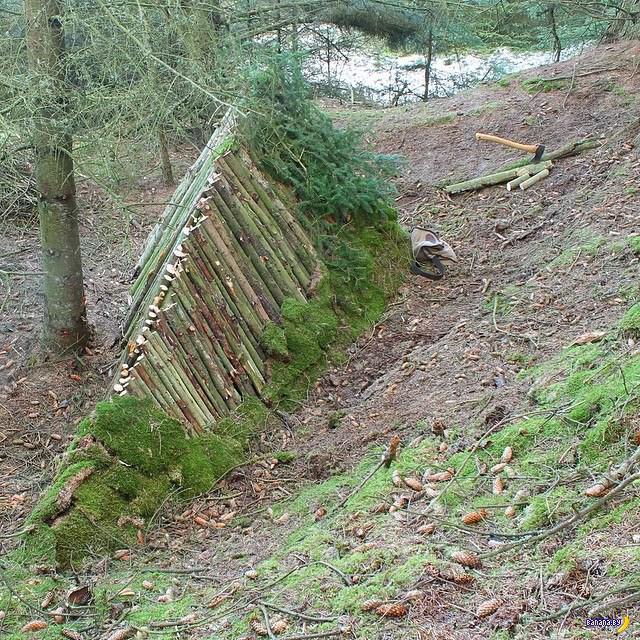 Капитальный шалаш в лесу