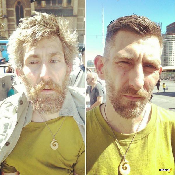 Австралийский парикмахер бесплатно стрижет бомжей