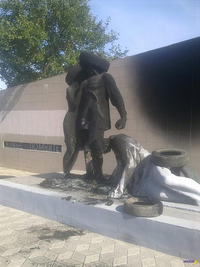 Снова горят покрышки –теперь на памятниках