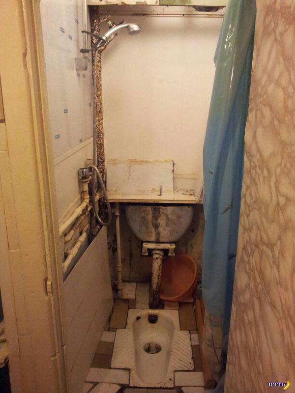 Русский лайфхак по совмещению туалета и душа