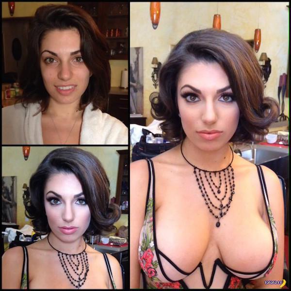Макияж для порно – до и после