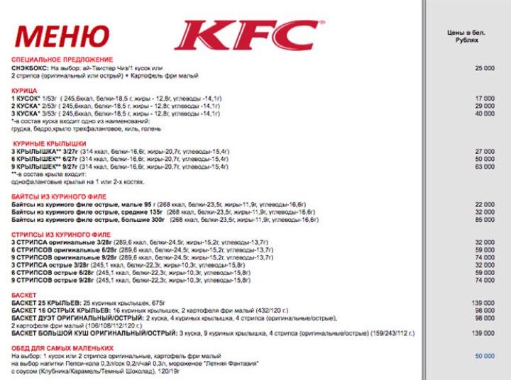 Минский KFC - что поесть?