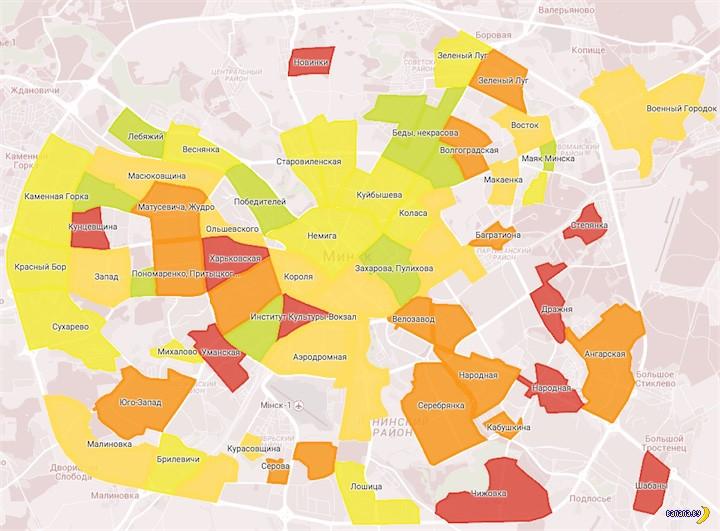 Карта преступности в Минске