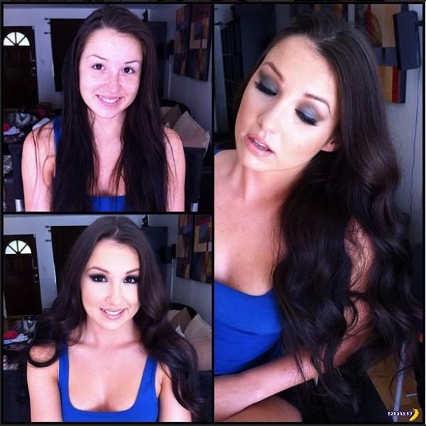 Порнозвезды до и после макияжа - 2
