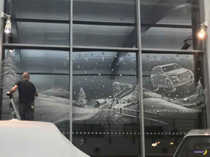 Новогодние рисунки на окнах