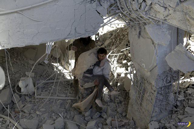 Последствия налёта российской авиации в Сирии