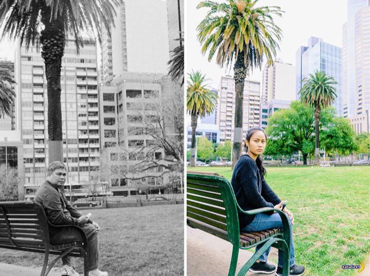 Девушка воссоздала фотографии своего умершего отца