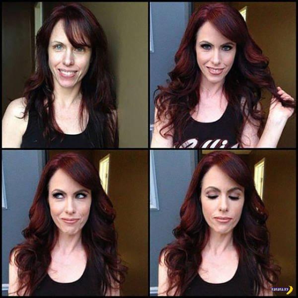 Порнозвезды до и после макияжа - 3