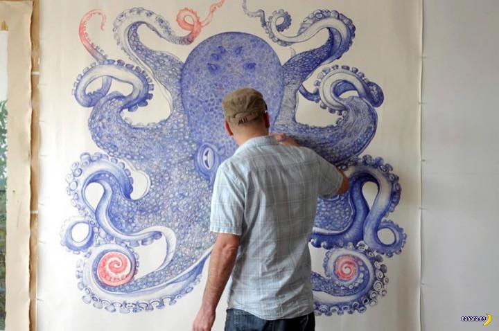 Нарисовать осьминога