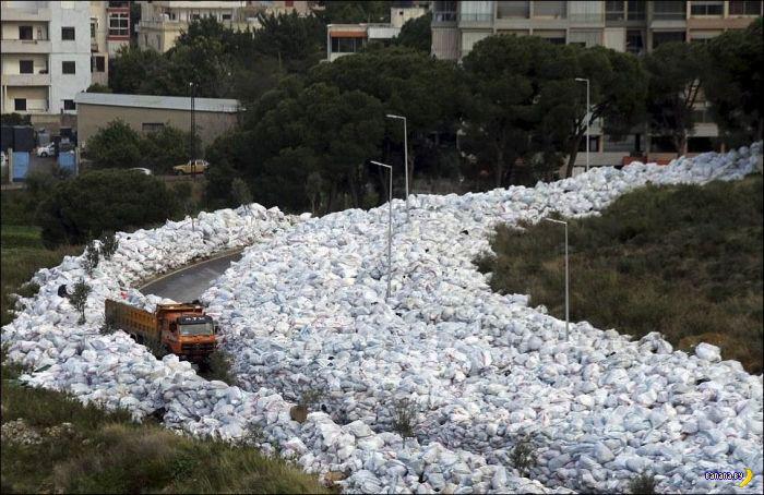 Мусорная река в Бейруте