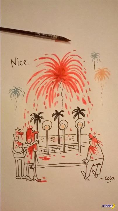 Первая карикатура от Charlie Hebdo по событиям в Ницце