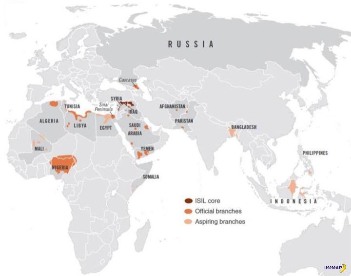 Карта активности ИГИЛ - 18 стран в огне