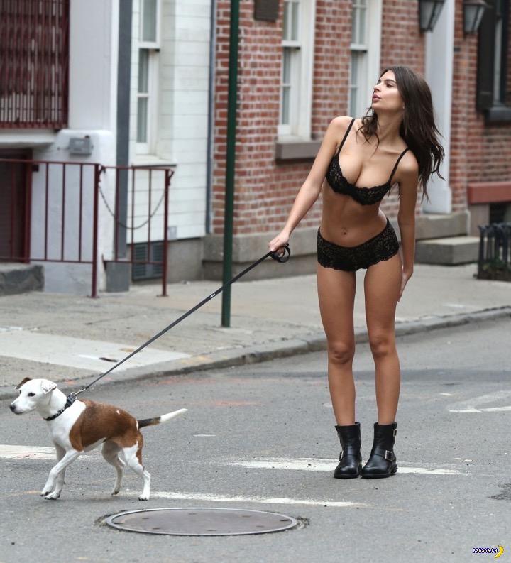 Эмили Ратаковски по улице собаку водила