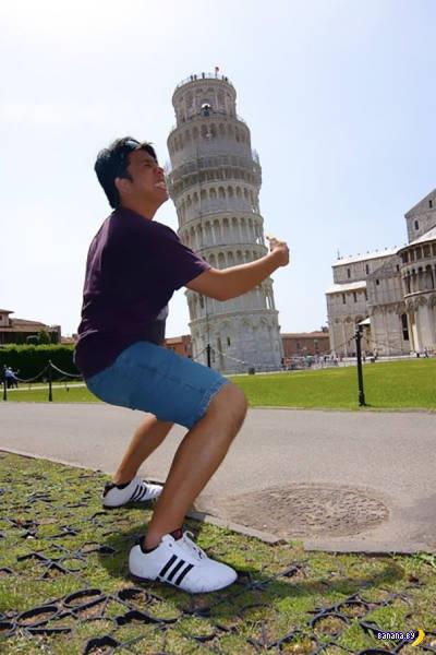 Туристы и Пизанская башня