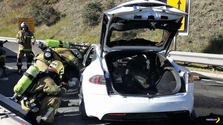 Как правильно тушить Tesla Model S?
