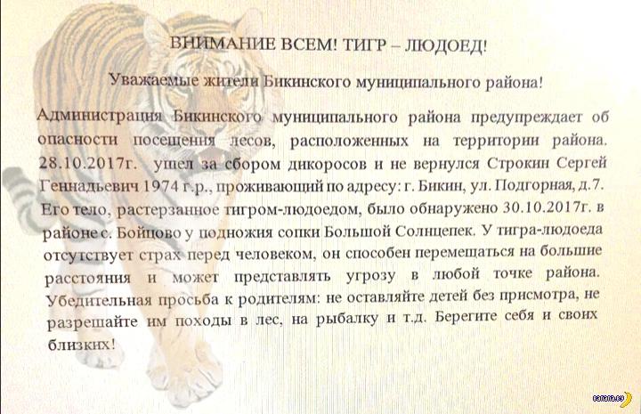 Тигр-людоед завёлся в Хабаровском крае