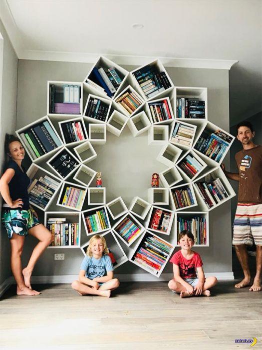 Крутая идея книжных полок для дома