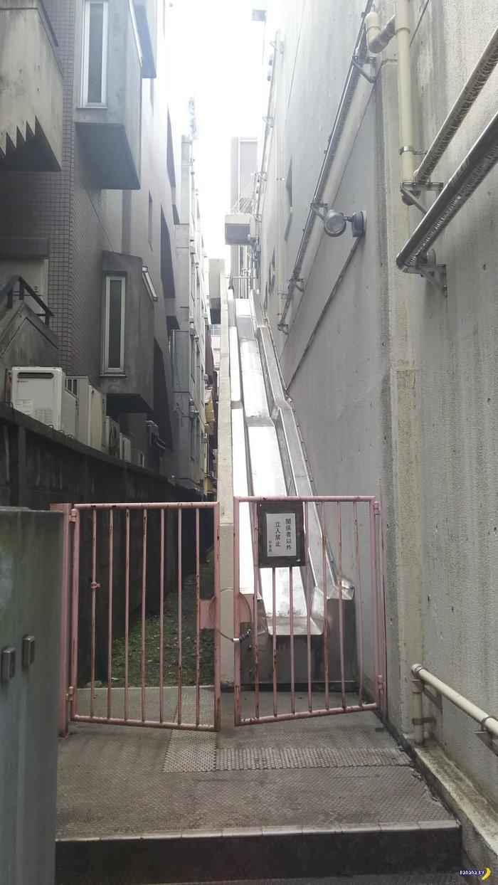 Пожарная лестница у нас и в Японии