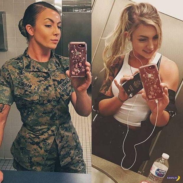 Девушки в униформе и без