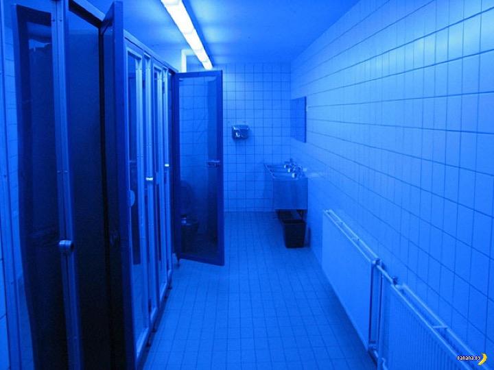 Почему в туалетах часто делают синюю подсветку?