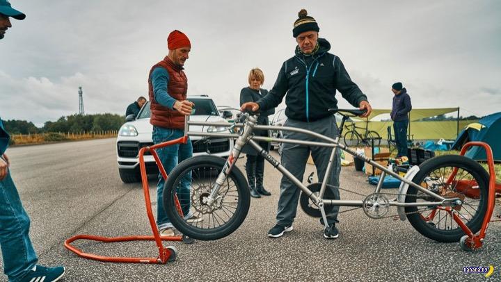 Европейский рекорд скорости езды на велосипеде - 240 км/ч