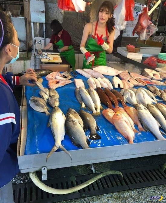 Самая красивая продавщица рыбы –фейк!