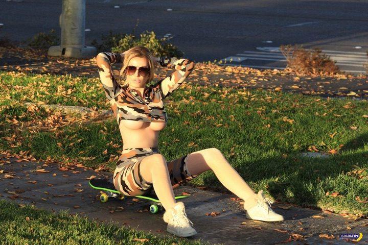 Ана Брага в камуфляже и на скейте