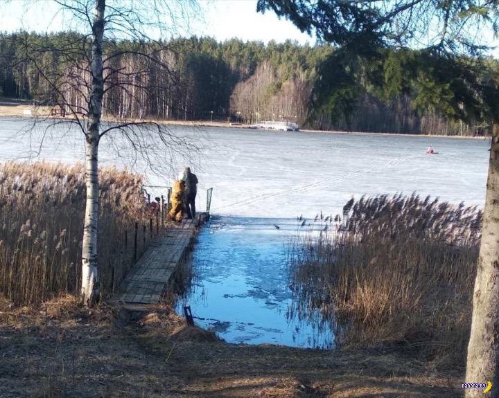 Очередной рыбак провалился под лёд