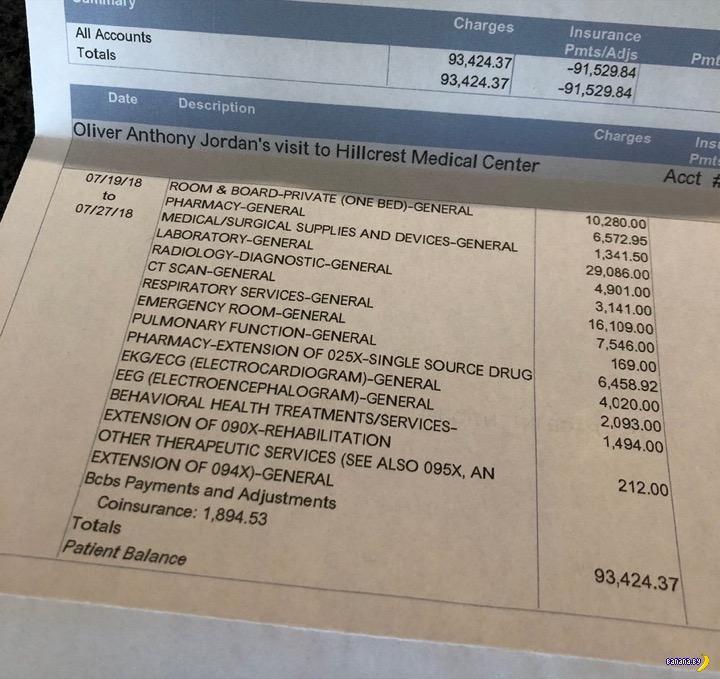 Больничный счёт для самоубийцы в США