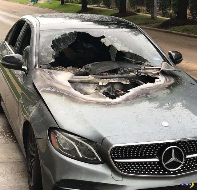 Последствия удара молнии в автомобиль