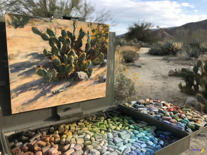 Художник комбинирует картины с пейзажем