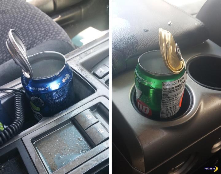 Очень доходчиво про жару в машине на солнце