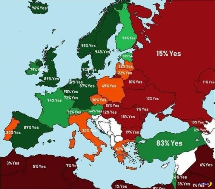 Карта ксенофобии в Европе